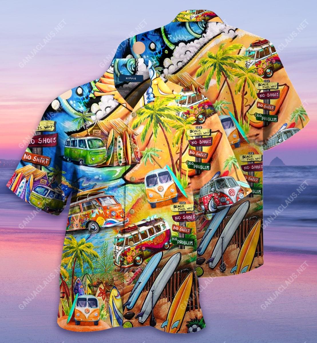 a hippie in a volkswagen bus full printing hawaiian shirt 2