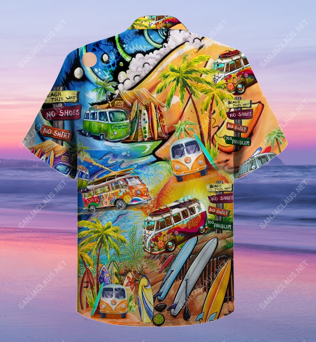 a hippie in a volkswagen bus full printing hawaiian shirt 4