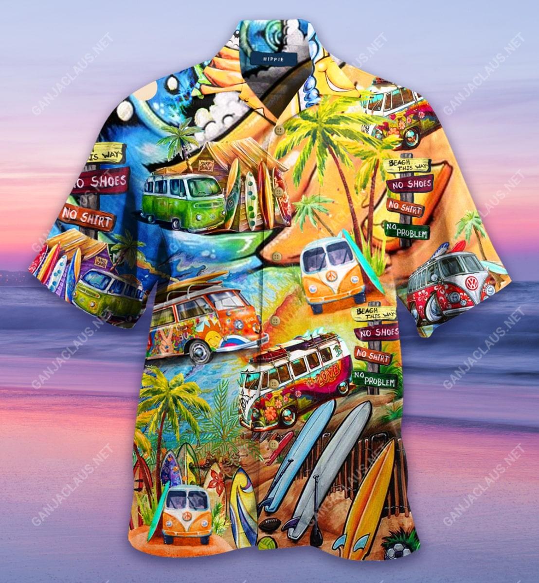 a hippie in a volkswagen bus full printing hawaiian shirt 5