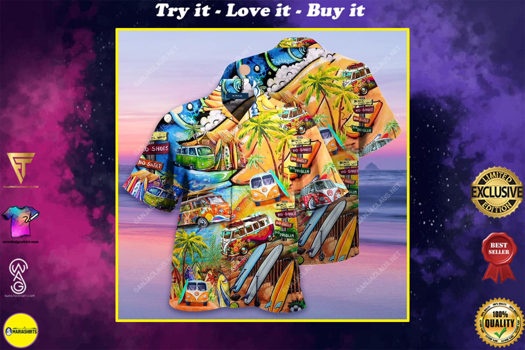 a hippie in a volkswagen bus full printing hawaiian shirt
