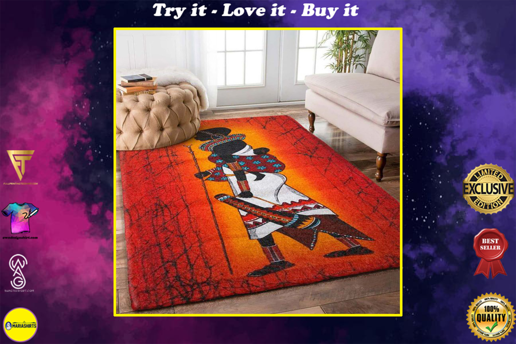 african symbols all over printed rug