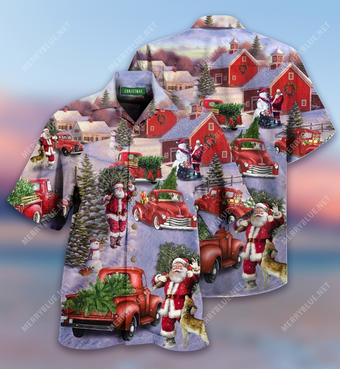 all hearts come home for christmas red truck full printing hawaiian shirt 2