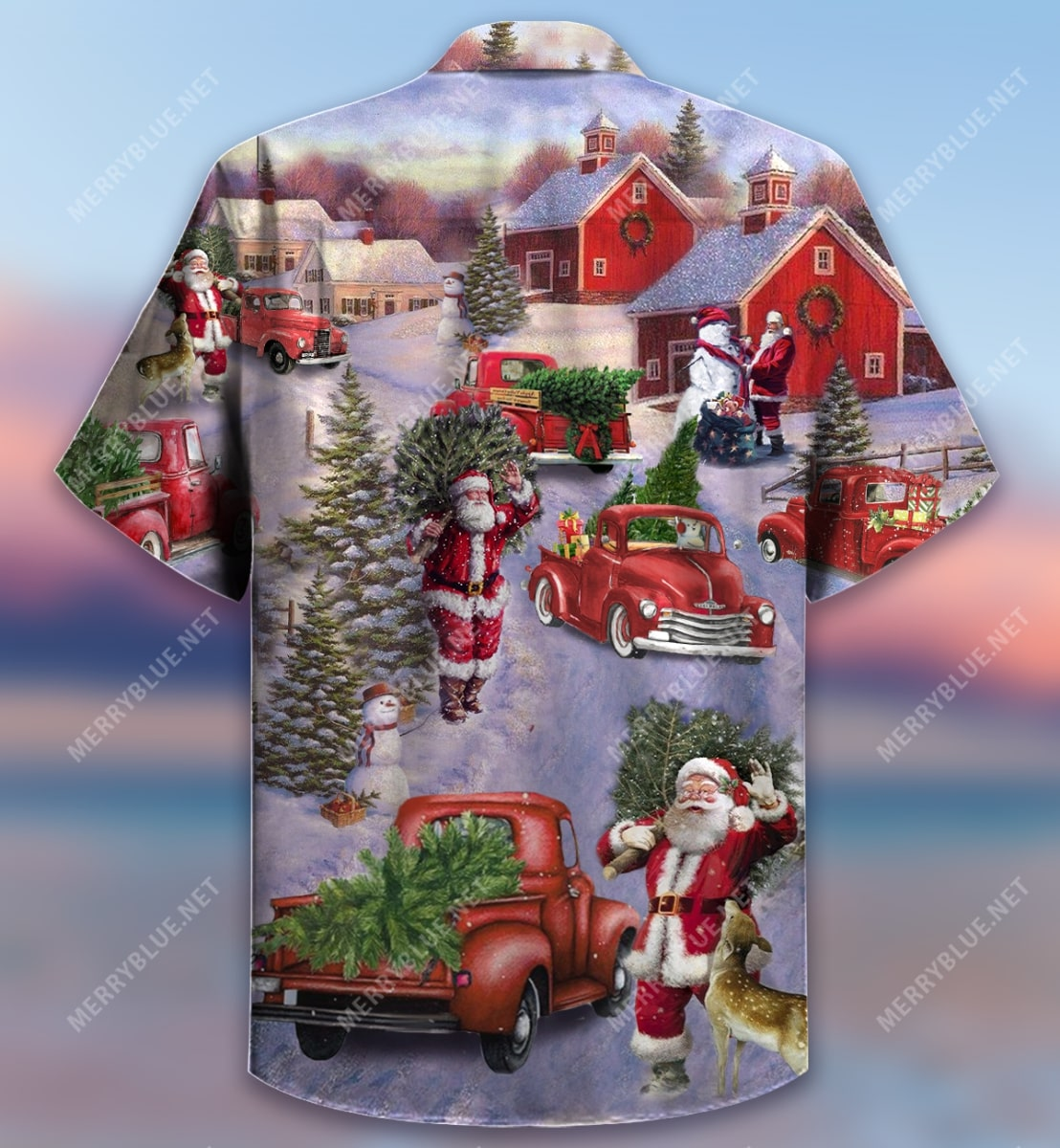 all hearts come home for christmas red truck full printing hawaiian shirt 4