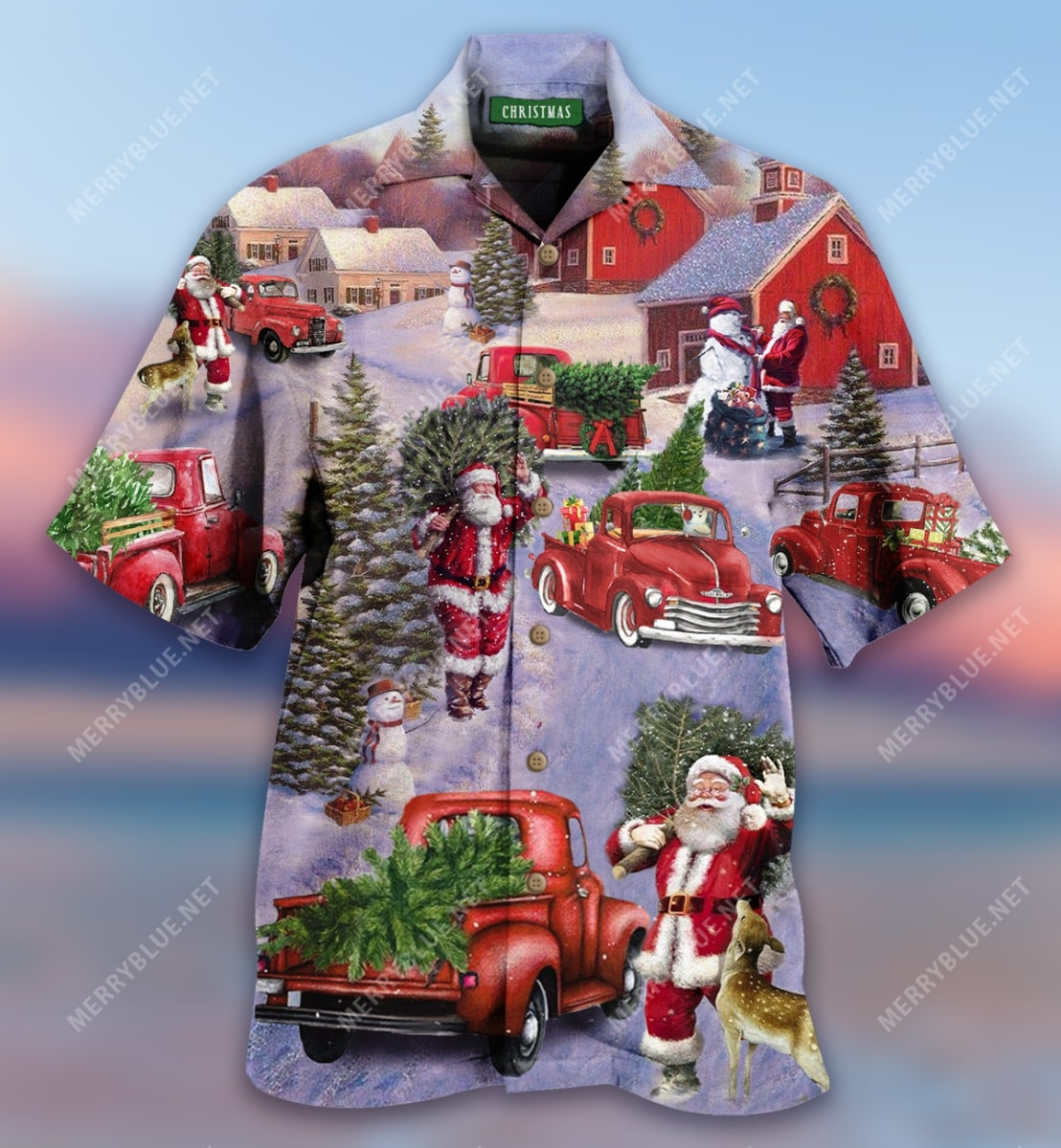 all hearts come home for christmas red truck full printing hawaiian shirt 5