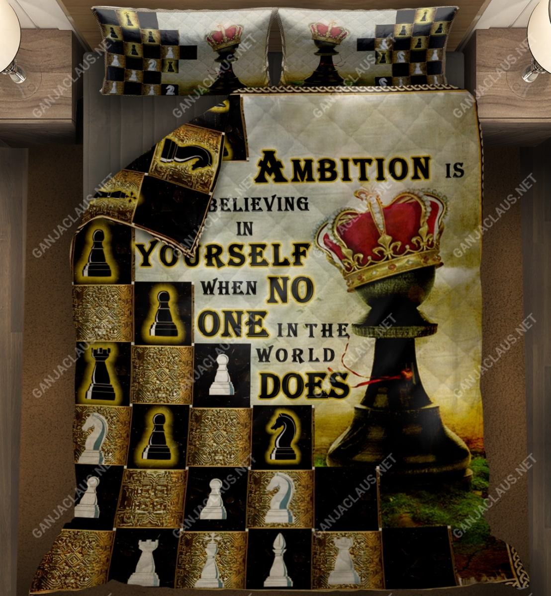 ambition is believing in yourself chess full printing bedding set 2