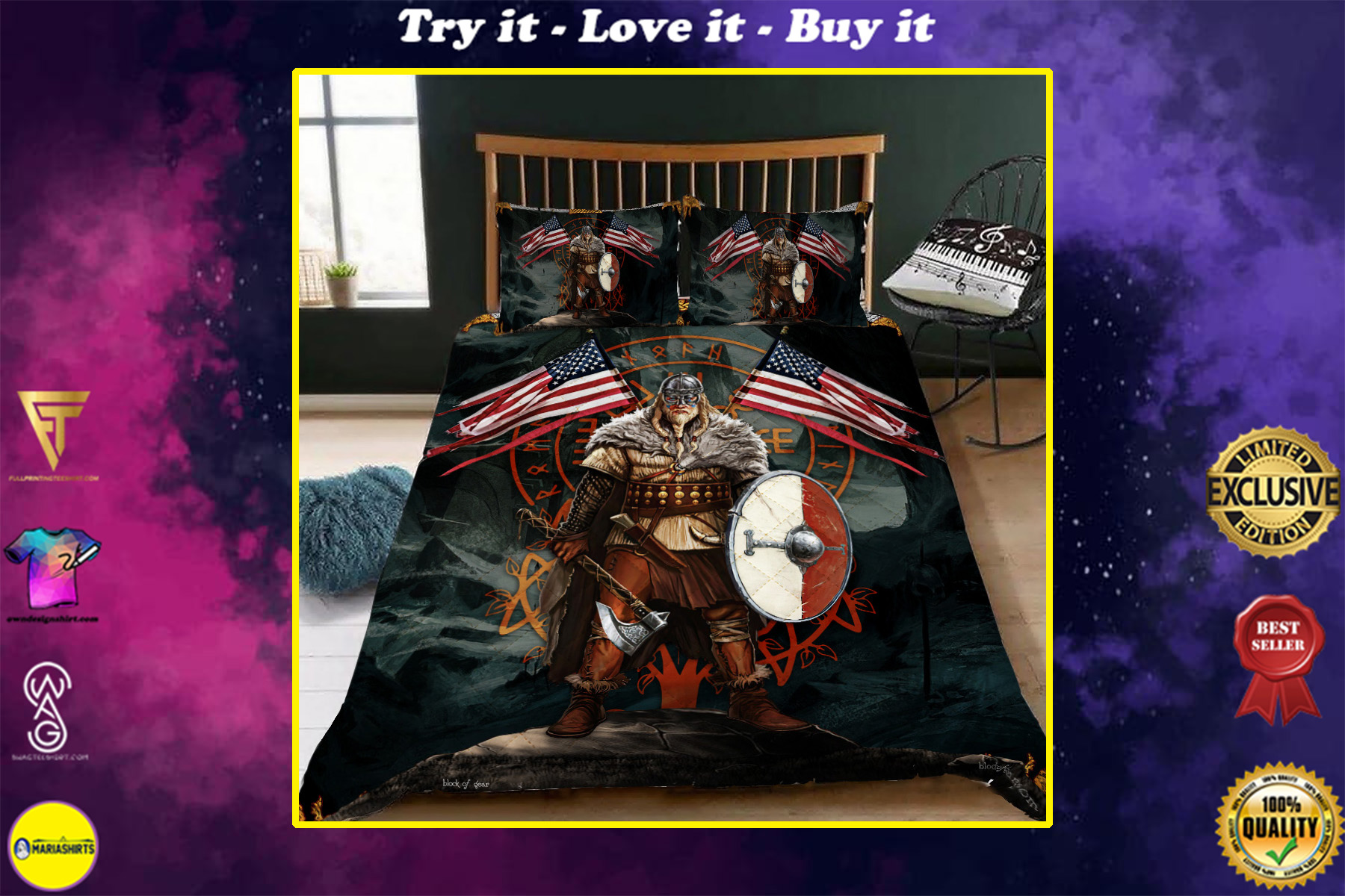 american viking warrior all over printed bedding set