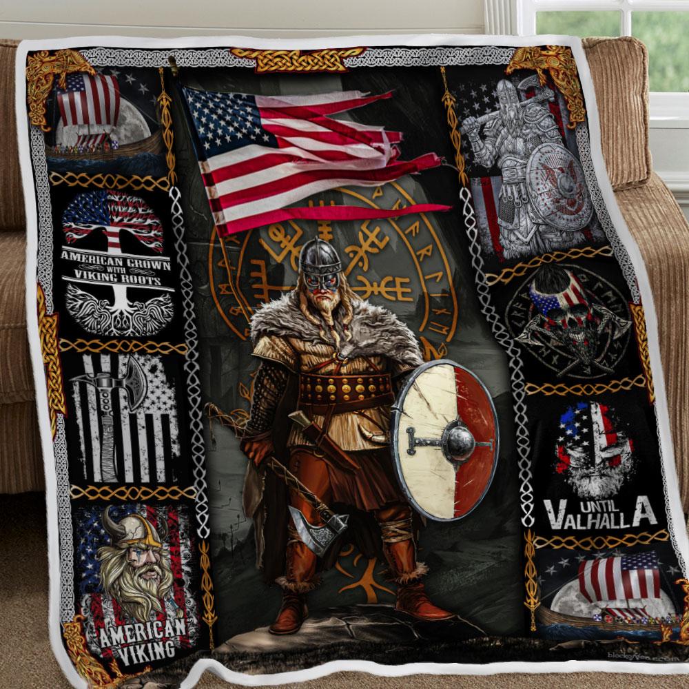 american viking warrior until valhalla all over printed blanket 5
