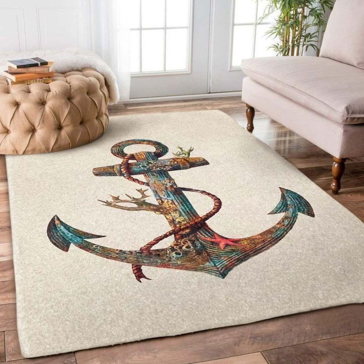 anchor and ocean all over printed rug 3