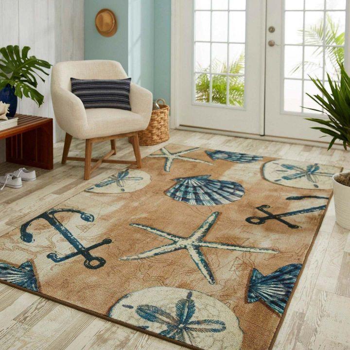 anchor starfish seashell all over printed rug 2