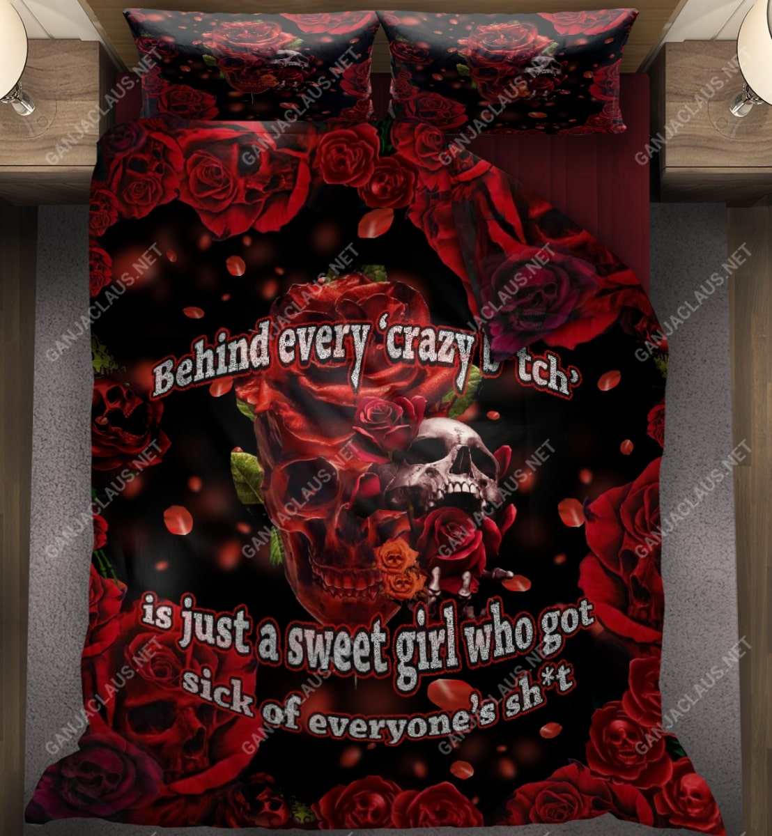 behind every crazy skull roses full printing bedding set 2