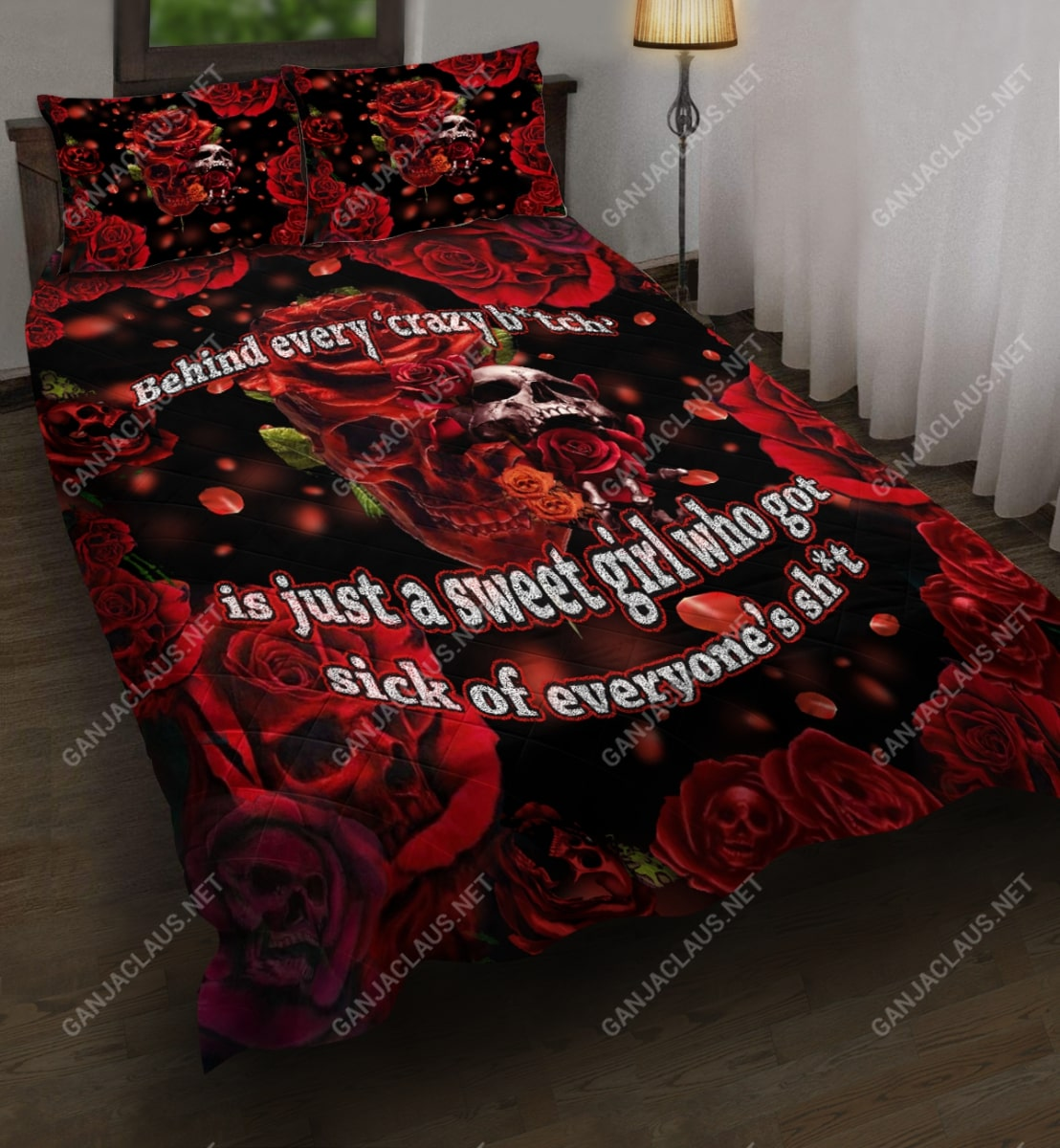 behind every crazy skull roses full printing bedding set 5