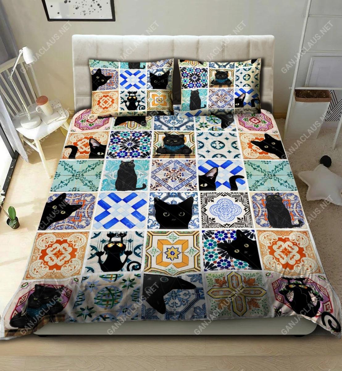 black cat full printing bedding set 2