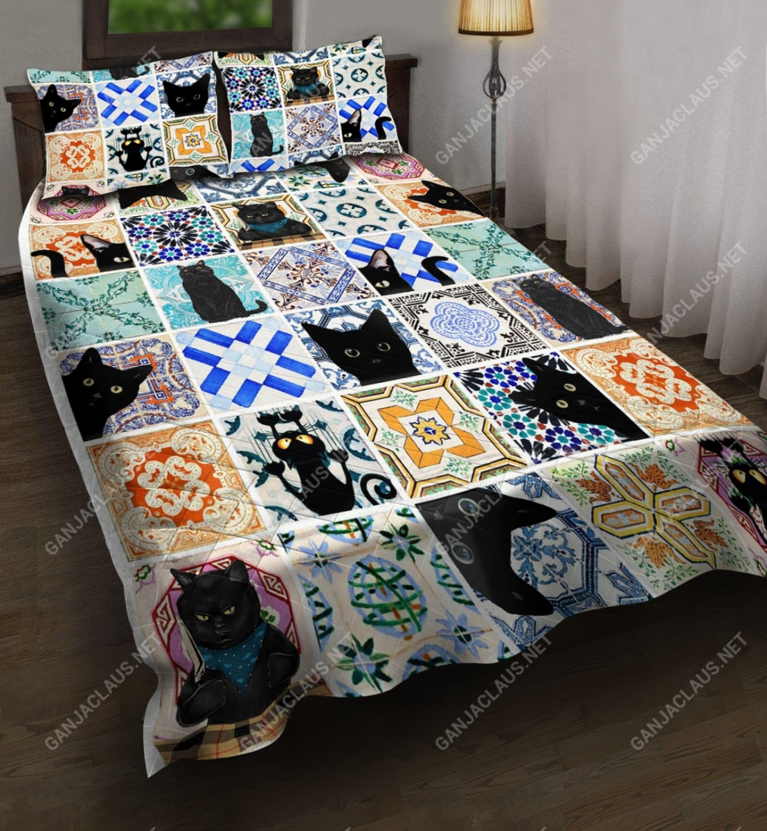 black cat full printing bedding set 4