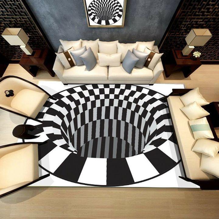 bottomless hole shaggy all over printed rug 4