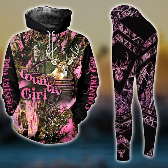 camo deer hunting country girl full over printed shirt 2