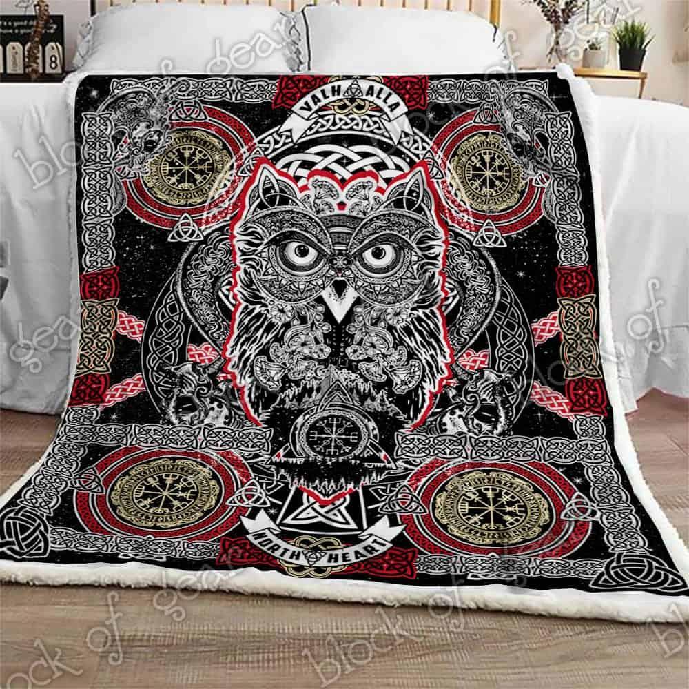 celtic style owl viking all over printed blanket 3