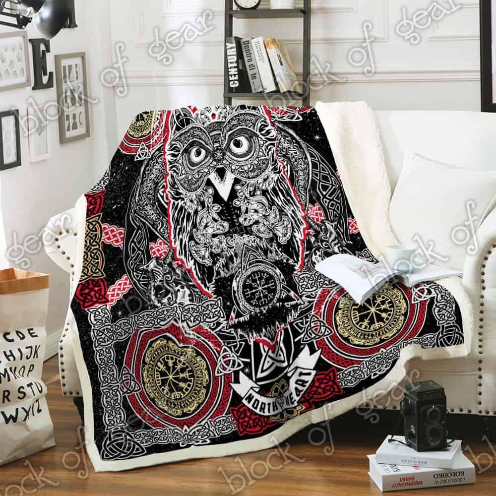 celtic style owl viking all over printed blanket 5