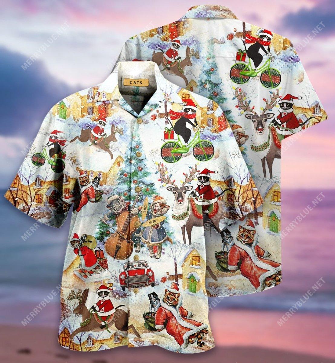 christmas and cats full printing hawaiian shirt 3