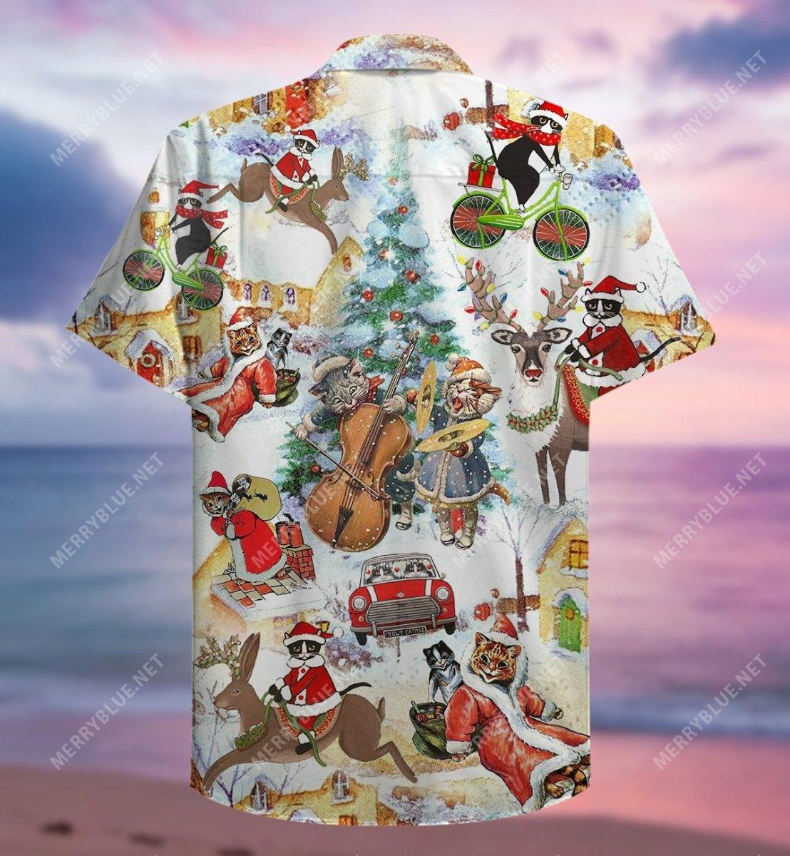 christmas and cats full printing hawaiian shirt 4