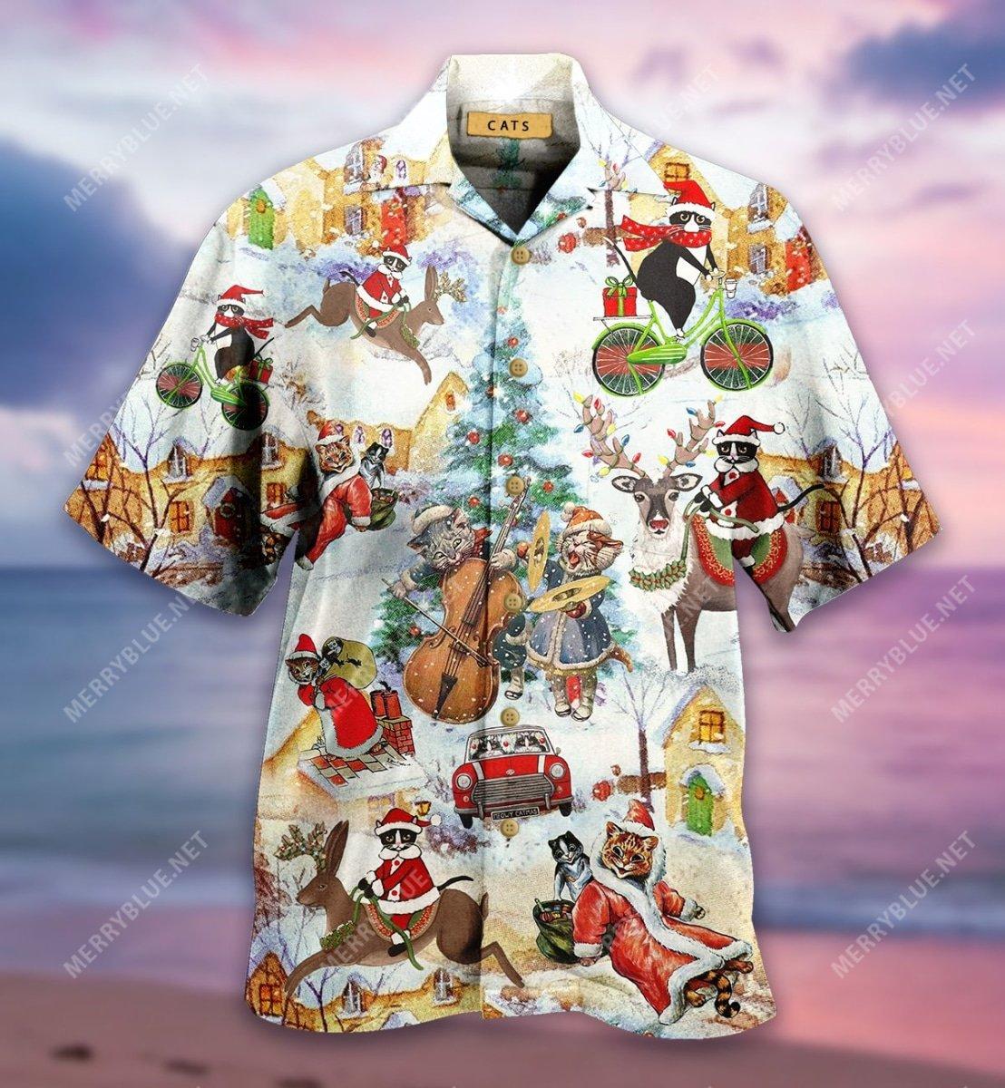 christmas and cats full printing hawaiian shirt 5