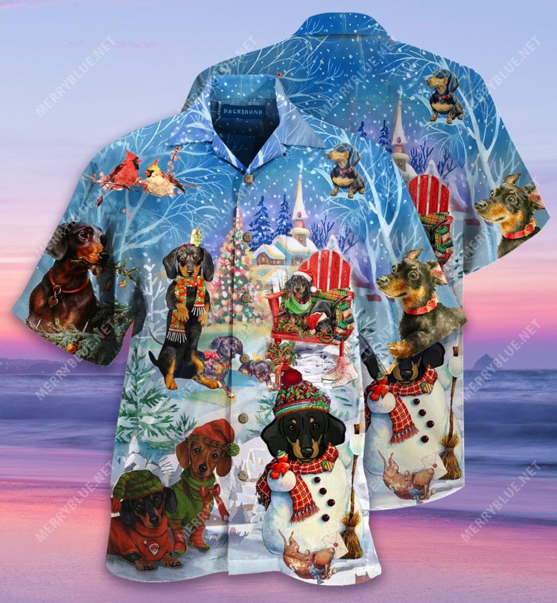 christmas dachshund through the snow full printing hawaiian shirt 3