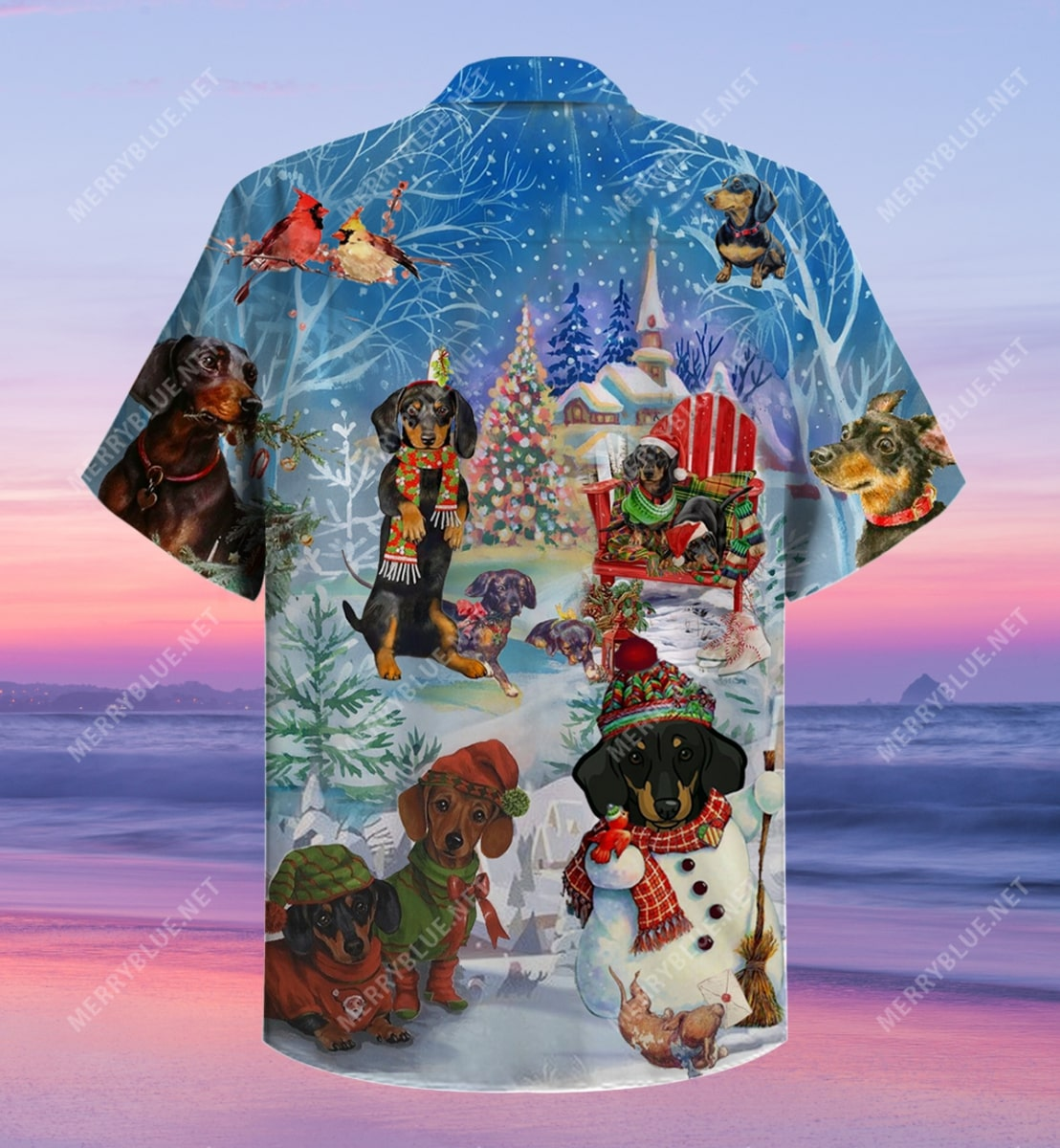 christmas dachshund through the snow full printing hawaiian shirt 4