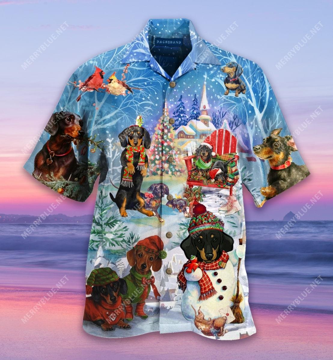 christmas dachshund through the snow full printing hawaiian shirt 5