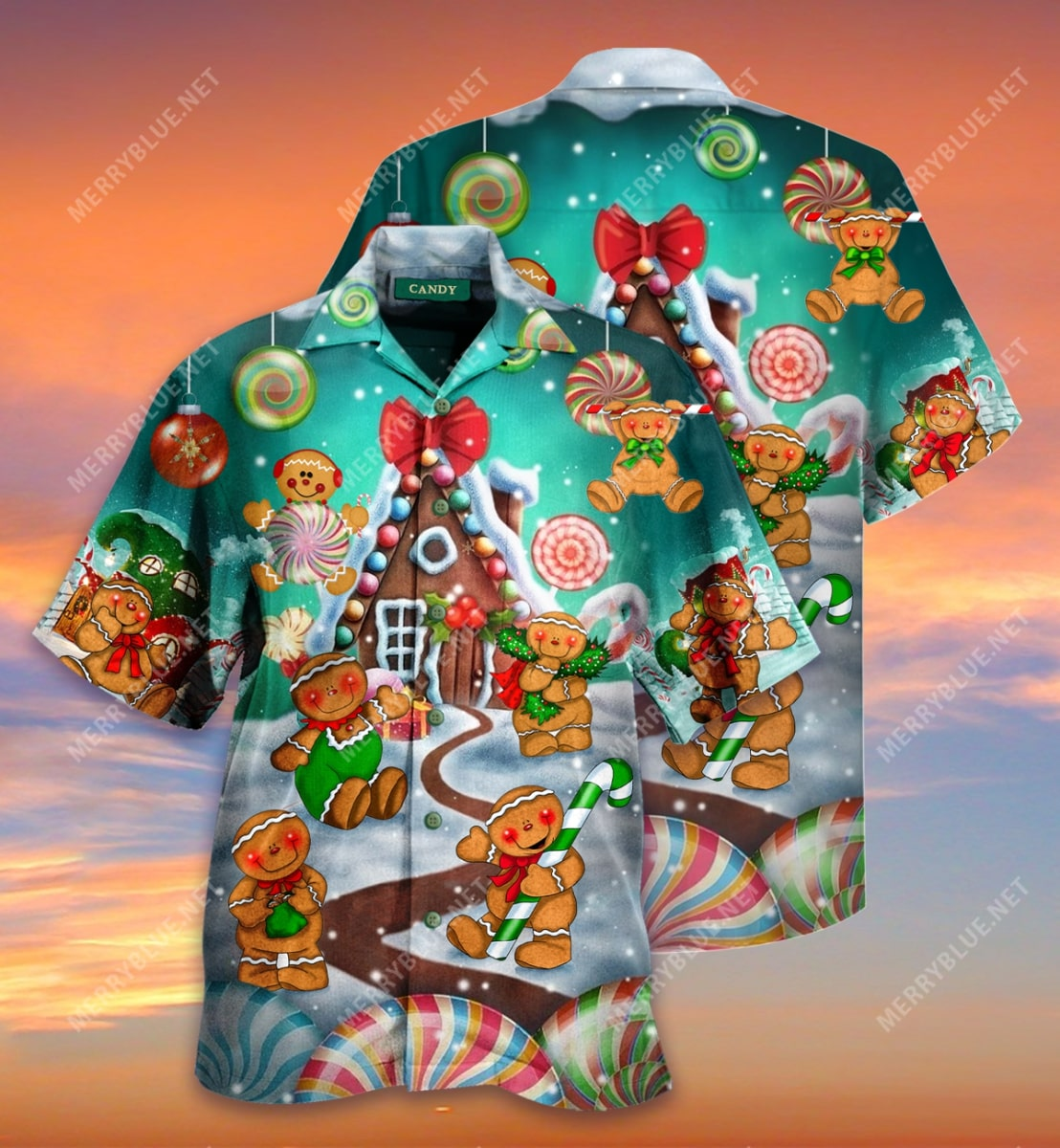 christmas gingerbread cookies full printing hawaiian shirt 3