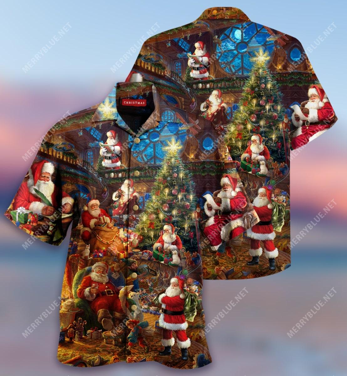 christmas house of santa claus full printing hawaiian shirt 2