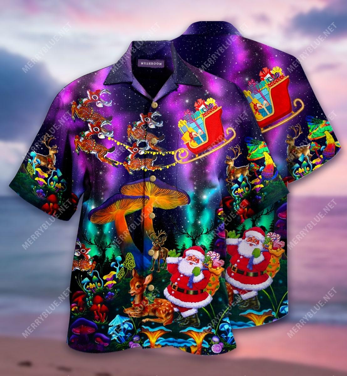 christmas mushroom full printing hawaiian shirt 3