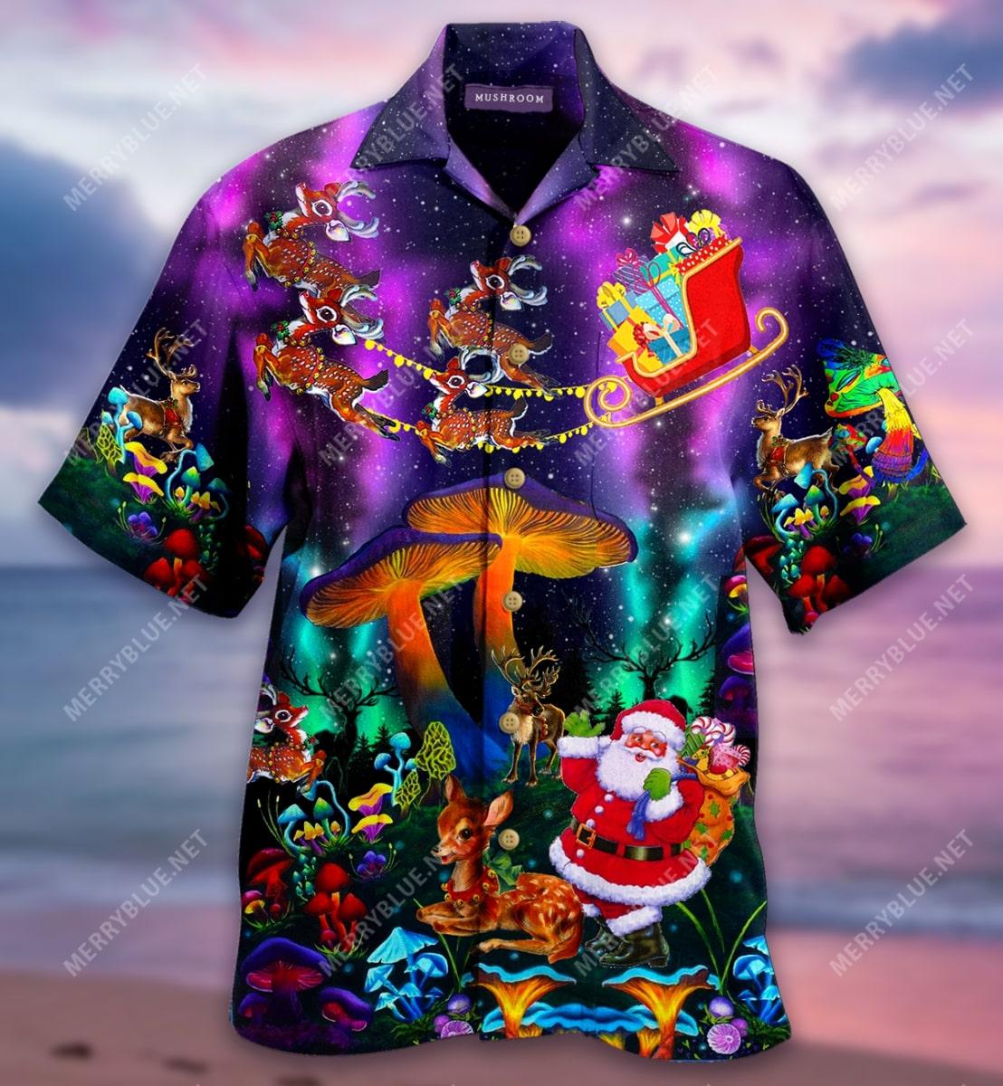 christmas mushroom full printing hawaiian shirt 4