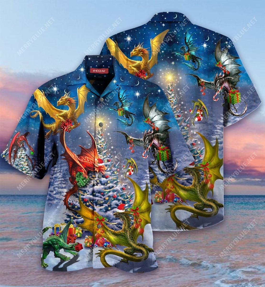 christmas night and dragon full printing hawaiian shirt 2