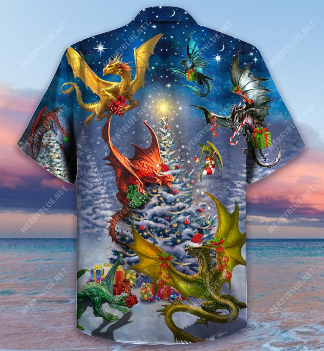 christmas night and dragon full printing hawaiian shirt 4