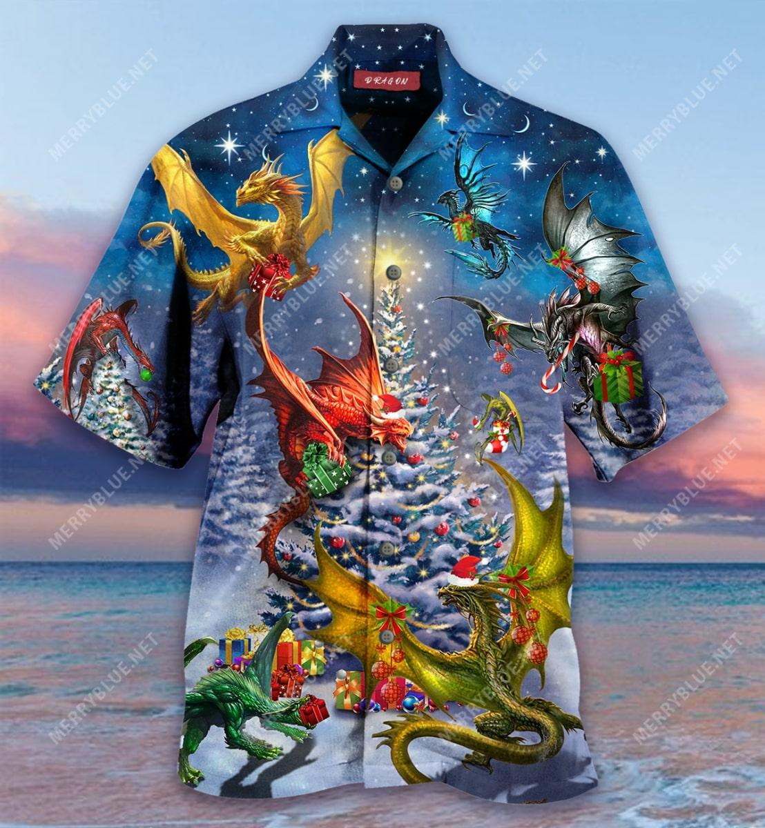 christmas night and dragon full printing hawaiian shirt 5