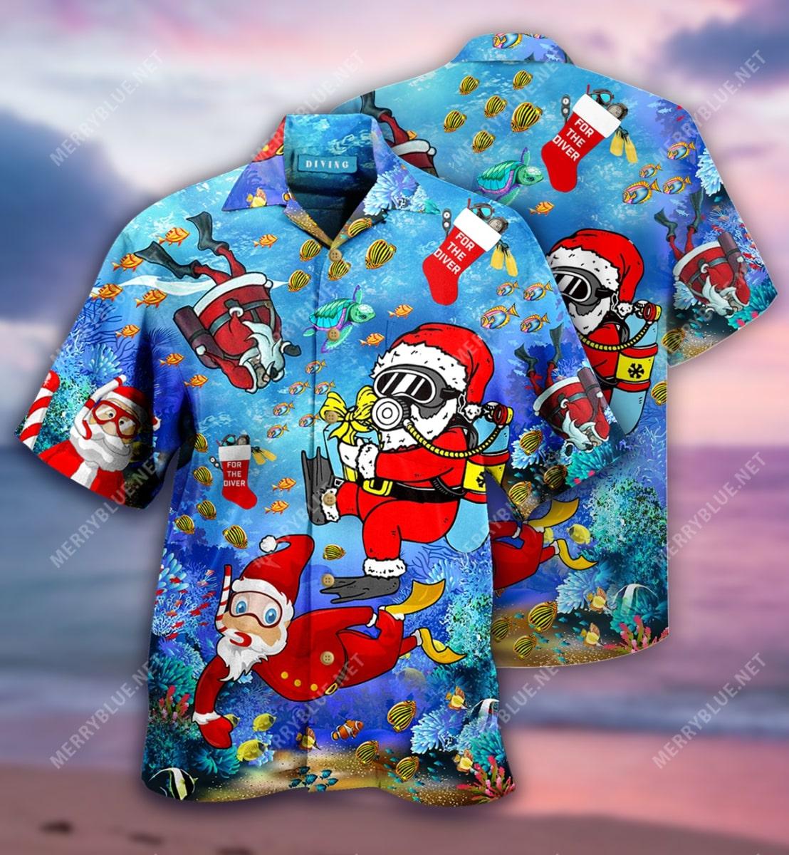 christmas santa claus diving full printing hawaiian shirt 2