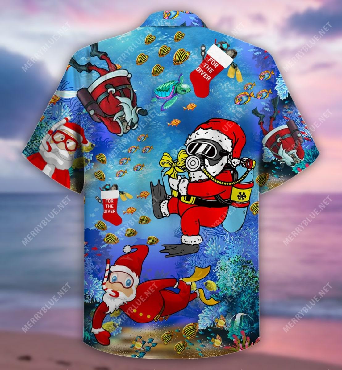 christmas santa claus diving full printing hawaiian shirt 4