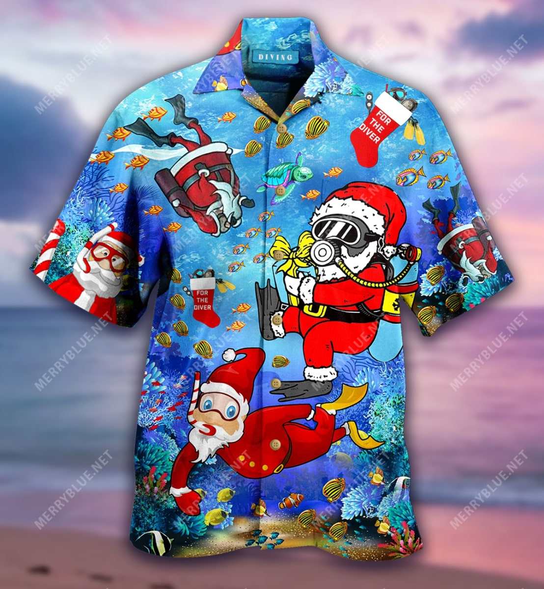 christmas santa claus diving full printing hawaiian shirt 5