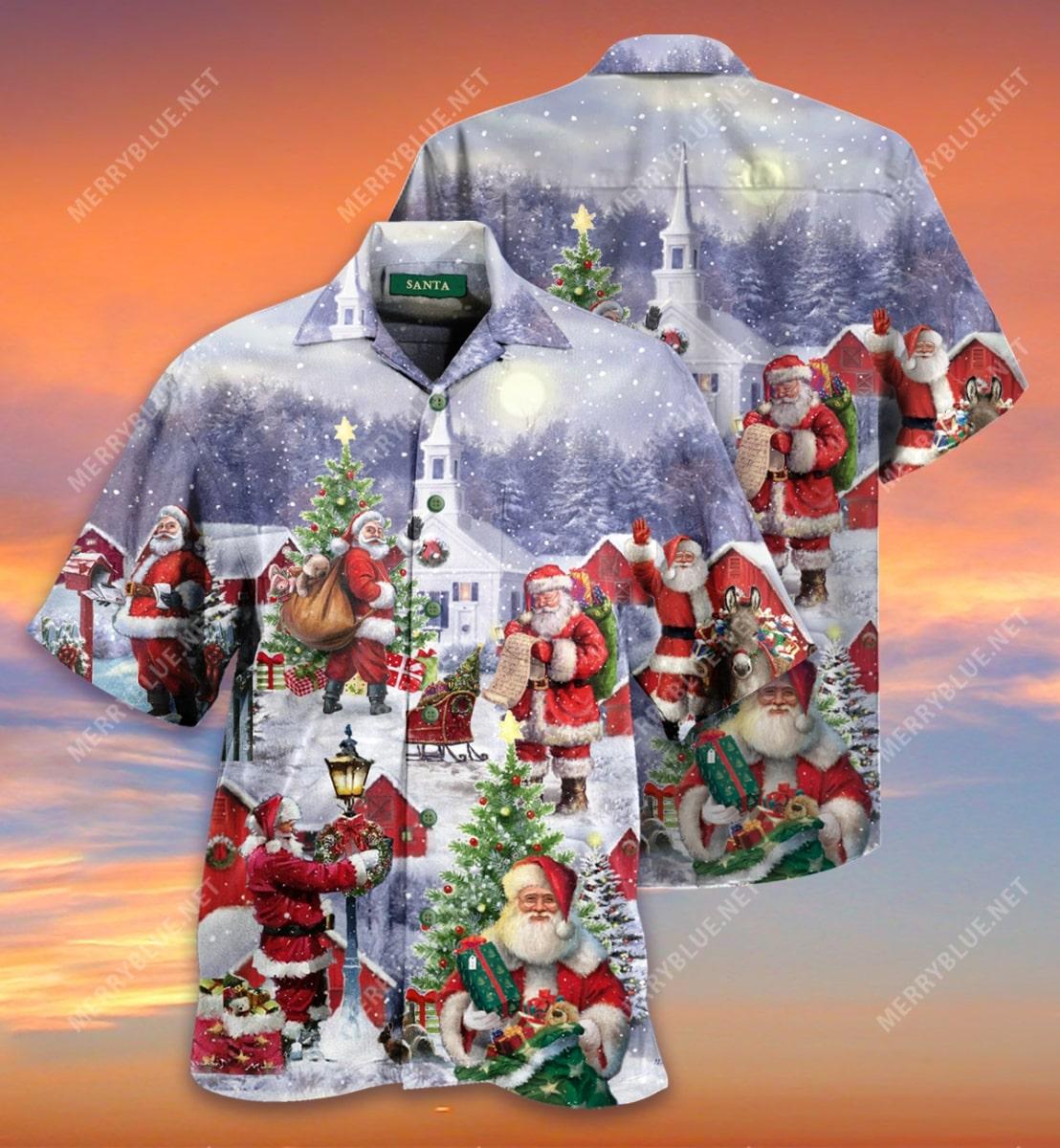 christmas santa claus is coming full printing hawaiian shirt 3