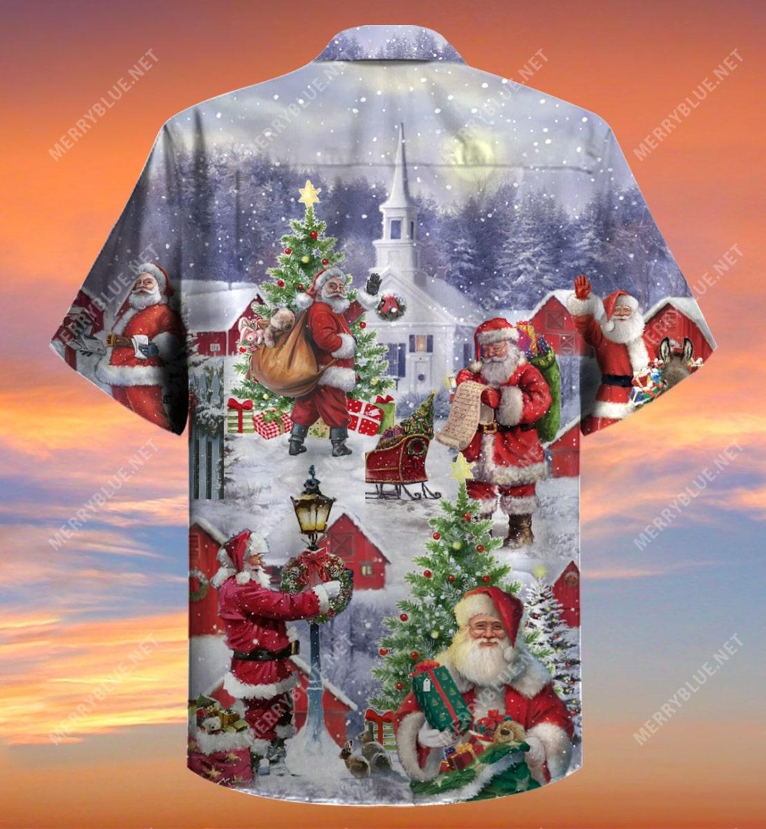 christmas santa claus is coming full printing hawaiian shirt 4