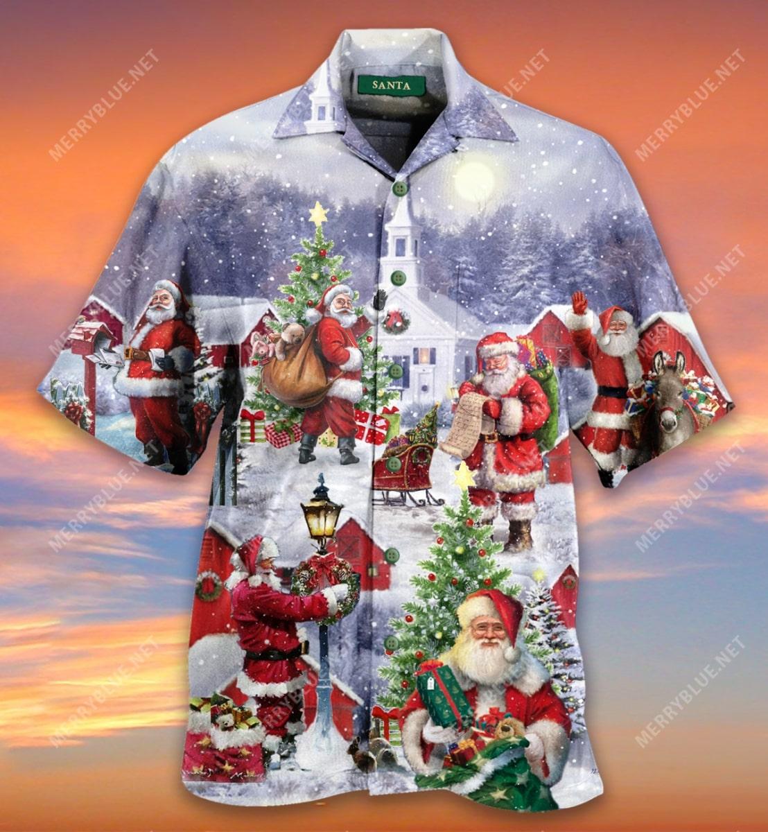 christmas santa claus is coming full printing hawaiian shirt 5