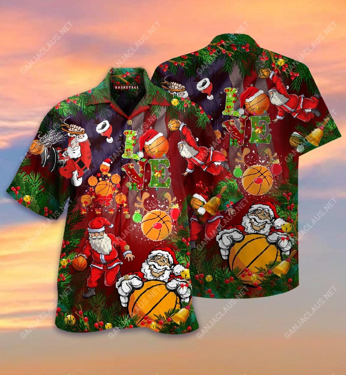 christmas santa claus play basketball full printing hawaiian shirt 2