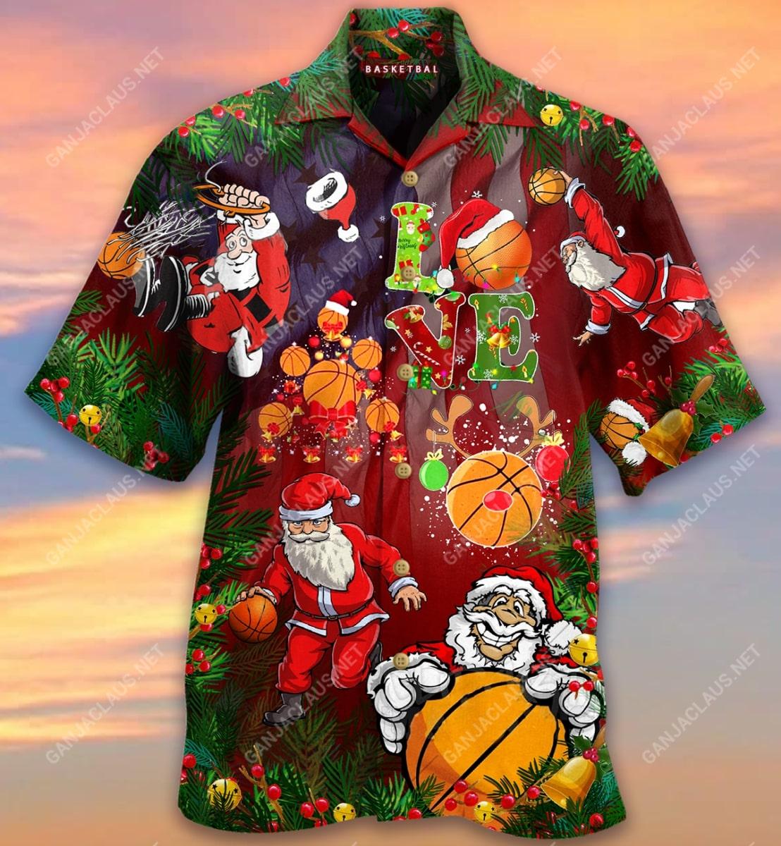 christmas santa claus play basketball full printing hawaiian shirt 4