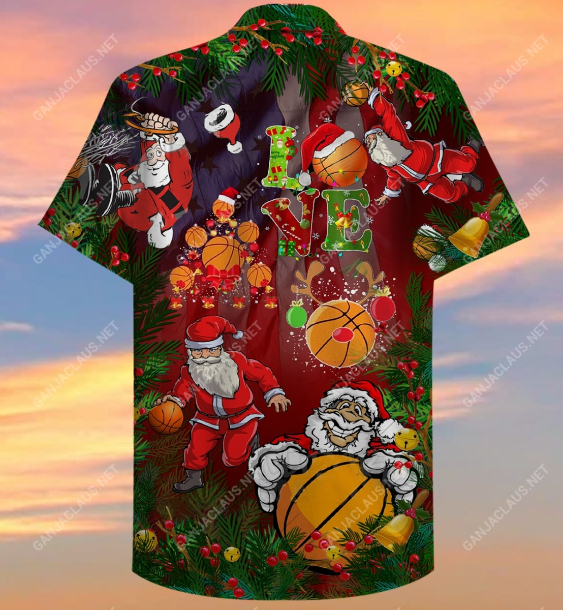 christmas santa claus play basketball full printing hawaiian shirt 5