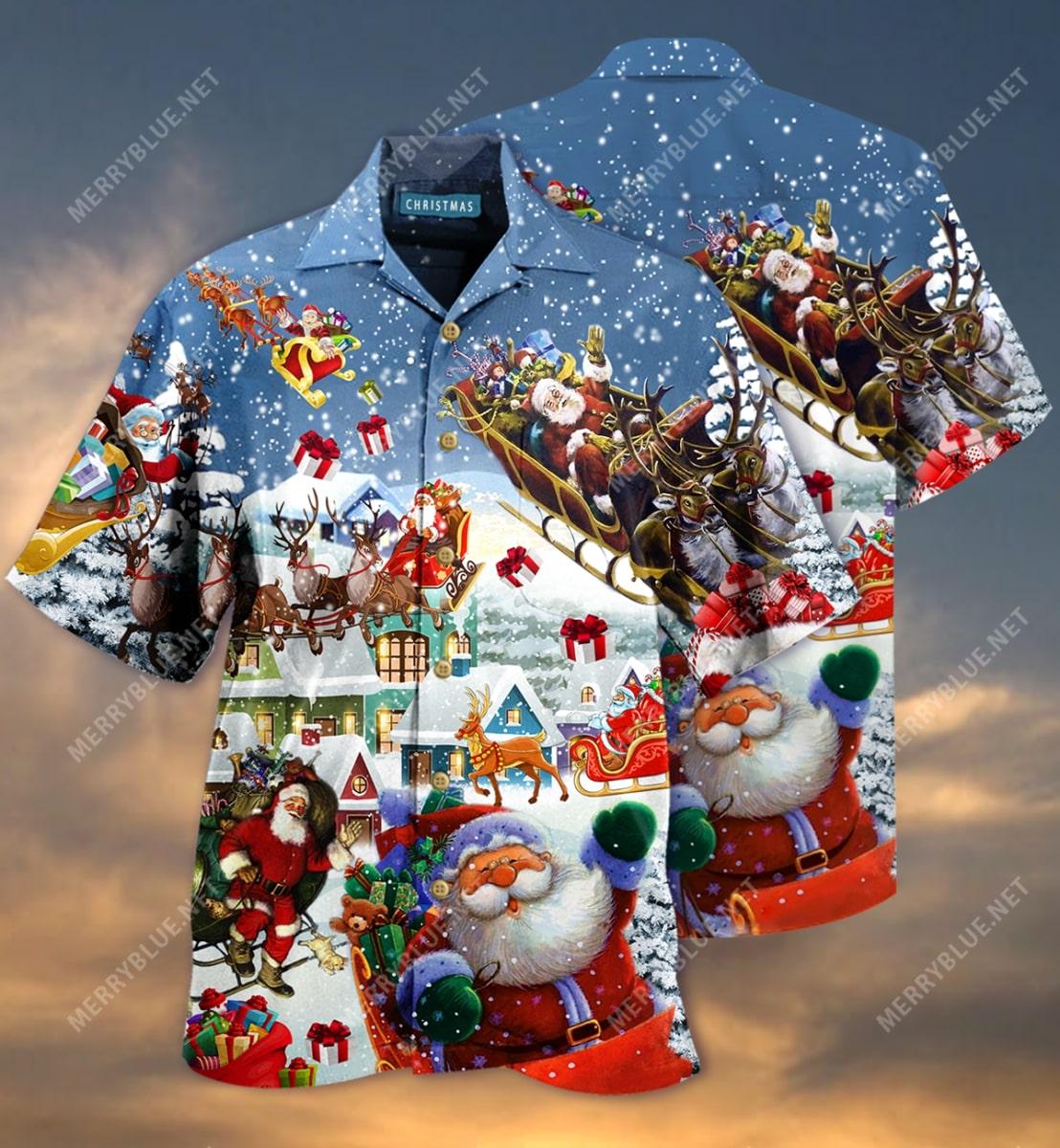 christmas say hi from santa full printing hawaiian shirt 3