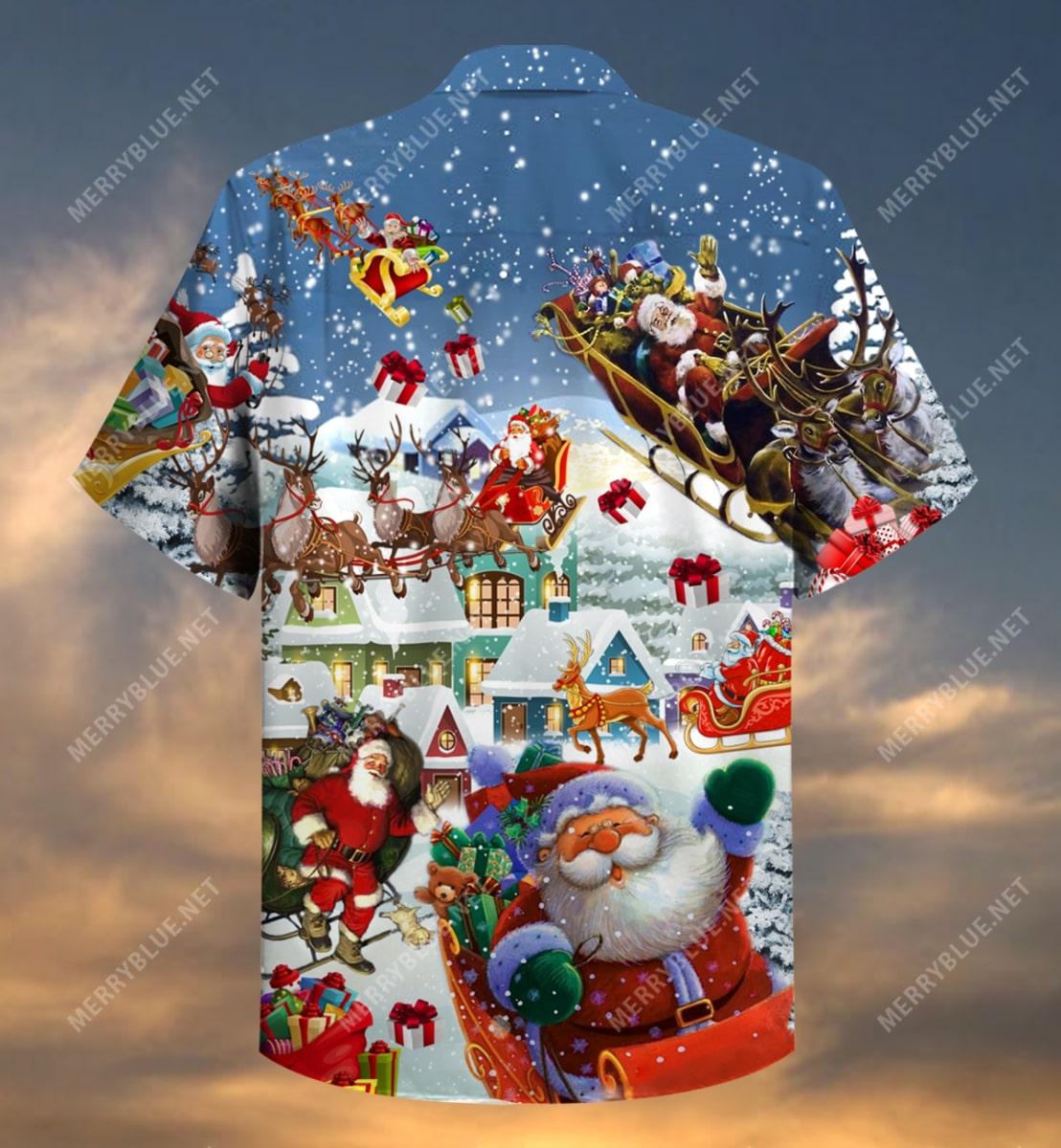 christmas say hi from santa full printing hawaiian shirt 4