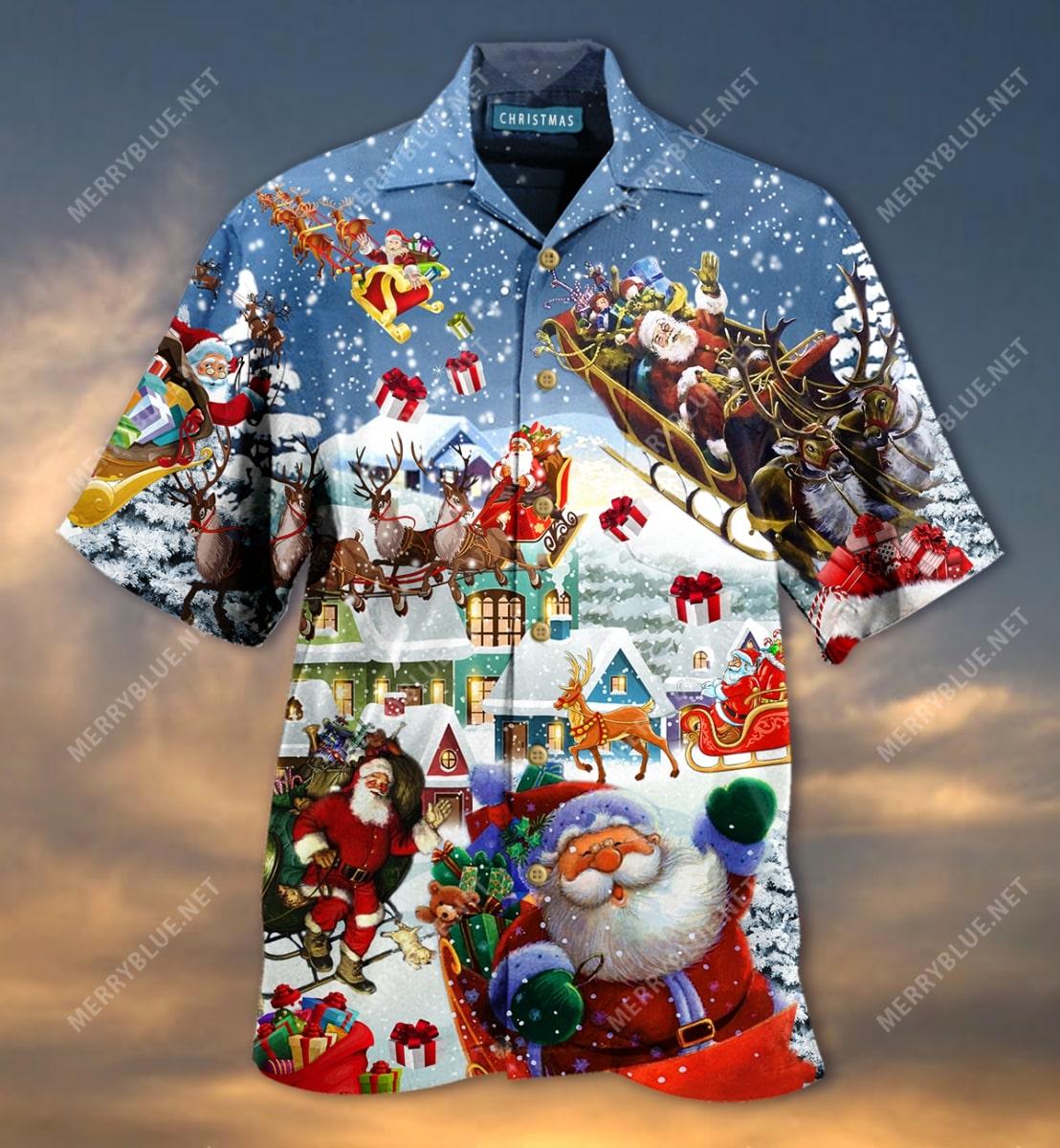 christmas say hi from santa full printing hawaiian shirt 5