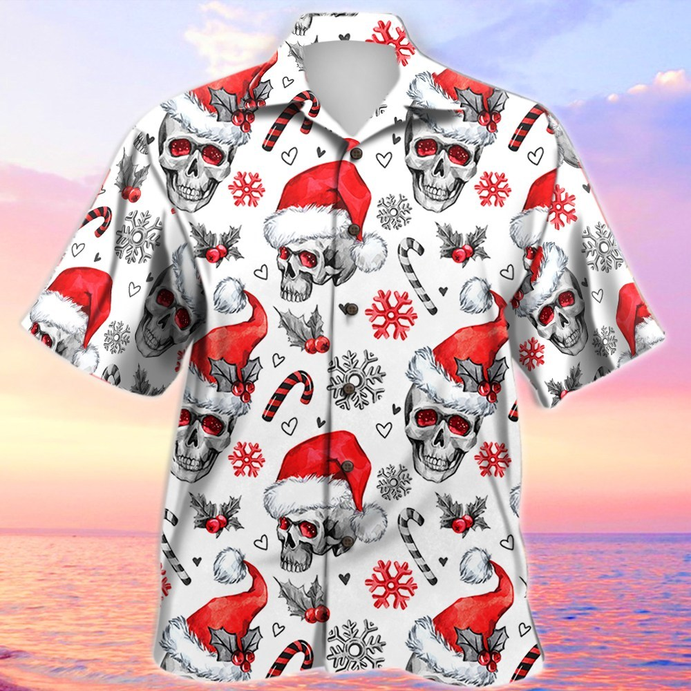 christmas skull full printing hawaiian shirt 2