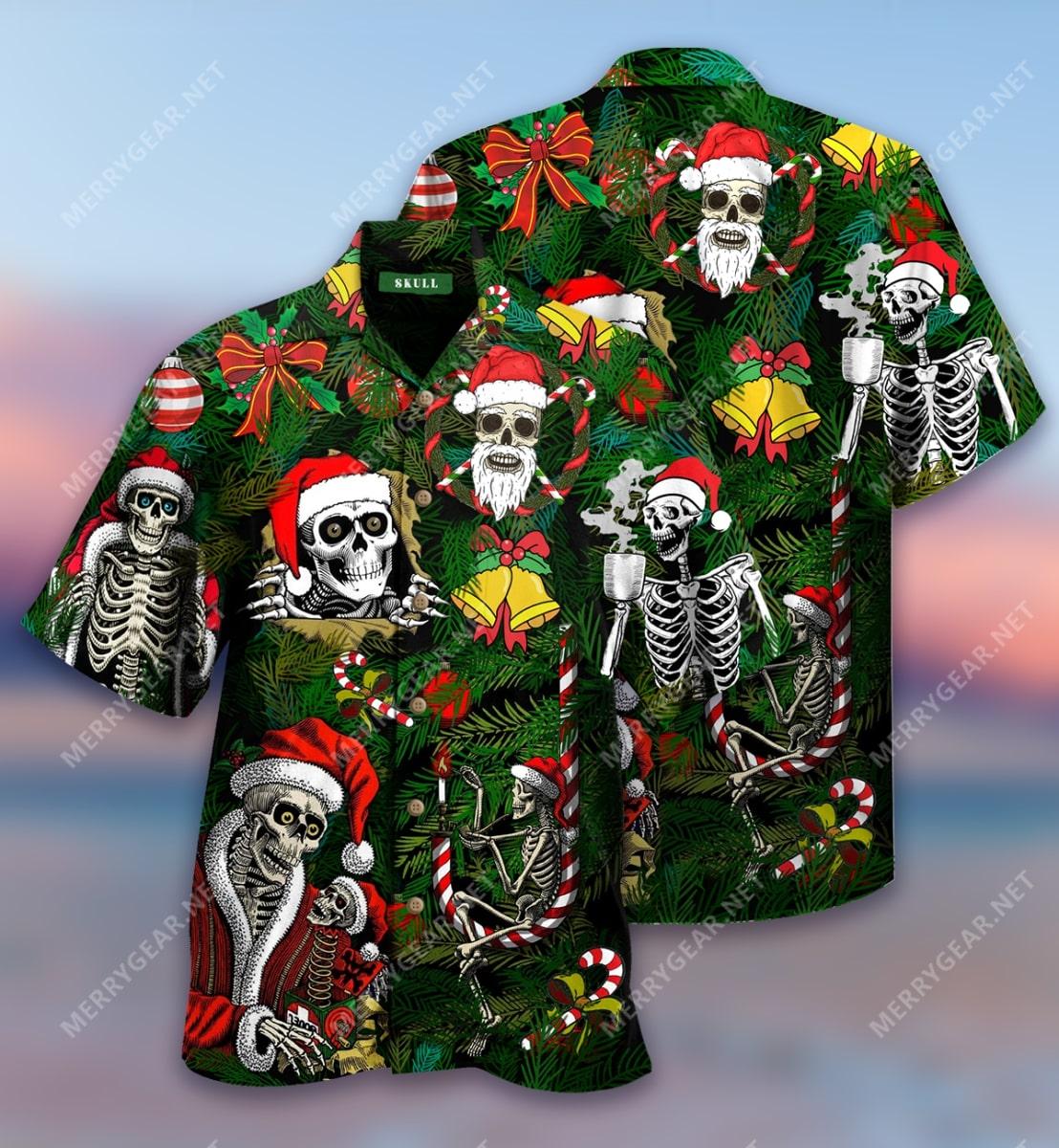 christmas skull with santa hat full printing hawaiian shirt 2