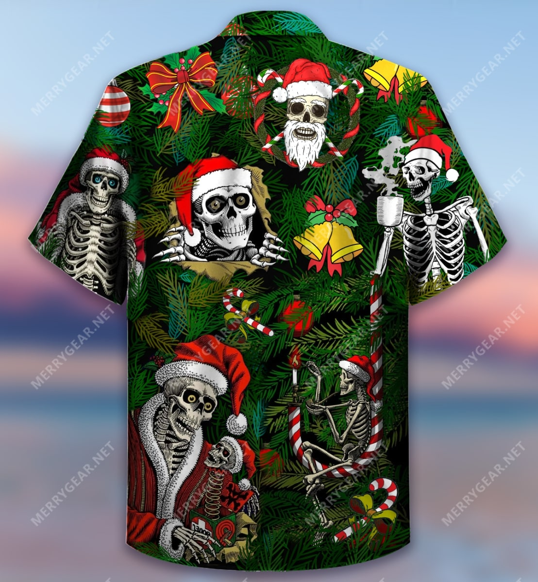 christmas skull with santa hat full printing hawaiian shirt 4