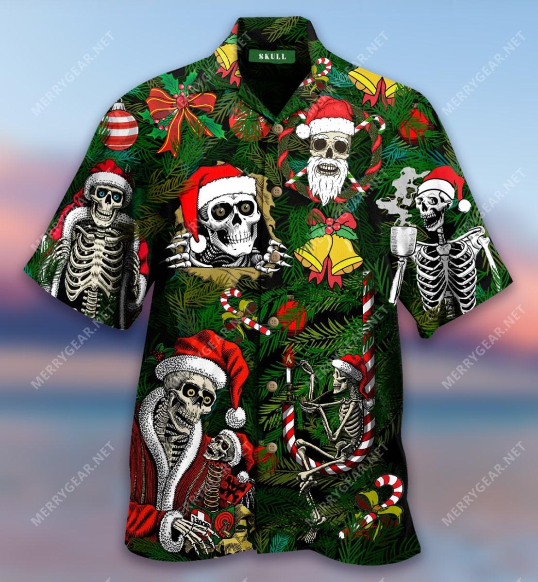 christmas skull with santa hat full printing hawaiian shirt 5